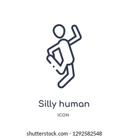 Linear silly human icon from Feelings outline collection. Thin line silly human icon vector isolated on white background. silly human trendy illustration