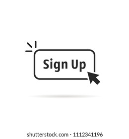linear simple black sign up button. concept of signup on site or apply now to community and open registration. flat outline modern logotype graphic art design illustration isolated on white background