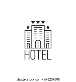 linear simple icon of luxury hotel with stars. concept of tourist stop at an expensive motel or trip badge for travel agency. flat stroke trend modern logotype graphic art design on white background