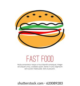 Linear simple icon. Stylized image of a hamburger on the white background. Modern stylish flat design of the logo for banner and other with space for text.