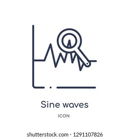 Linear sine waves analysis icon from Business and analytics outline collection. Thin line sine waves analysis vector isolated on white background. sine waves analysis trendy illustration