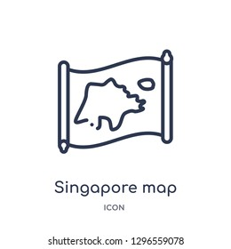 Linear singapore map icon from Countrymaps outline collection. Thin line singapore map icon vector isolated on white background. singapore map trendy illustration