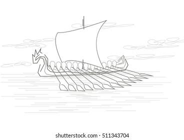 linear sketch ancient viking ship