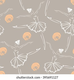 Linear sketch of the dancing ballerina in tutu. Seamless pattern of the dancer. Hand drawn vector illustration on the textured color background. Image for fabric, fashion, textile, wrapping paper.