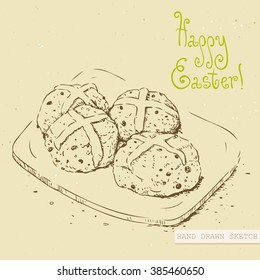 Linear sketch of the easter hot cross buns on the plate with green text Happy Easter. Hand drawn vintage vector illustration with lettering happy easter on the textured beige paper background.