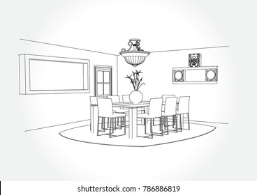 Linear sketch of an interior. dining room plan. Sketch Line furniture set. Vector illustration. outline sketch drawing perspective of a interior space.