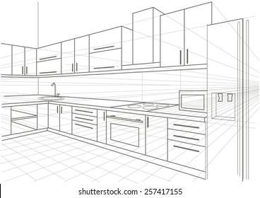 Kitchen Sketch Images Stock Photos Vectors Shutterstock