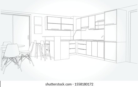 Linear sketch of an interior. Sketch Line dining room . Vector illustration.outline sketch drawing perspective of a interior space