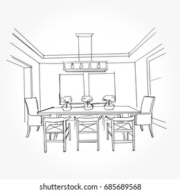 Dining Room Drawing Images Stock Photos Vectors