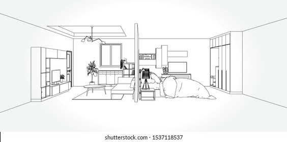 Linear sketch of an interior. Living room and bedroom drawing plan. Sketch Line sofa set. Vector illustration.outline sketch drawing perspective of a interior space.