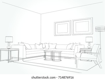 Linear sketch of an interior. Living room plan. Sketch Line sofa set. illustration.outline sketch drawing perspective of a interior space.draw and painted color.