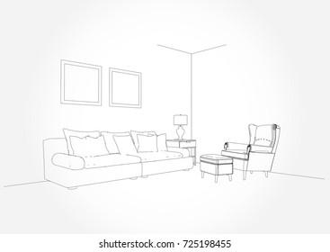 Linear Sketch Interior Living Room Plan Stock Vector Royalty Free