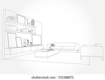 Linear sketch of an interior. Living room plan. Sketch Line sofa set.