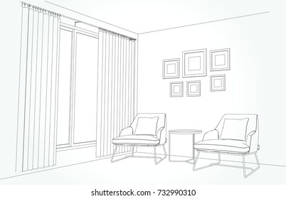 Linear sketch of an interior. Living room plan. Sketch Line sofa set. illustration.outline sketch drawing perspective of a interior space draw and painted .