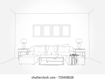 Linear sketch of an interior. Living room plan. Sketch Line sofa set. illustration.outline sketch drawing perspective of a interior space.draw and painted colour.
