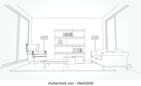 Linear sketch of an interior. Living room plan. Sketch Line sofa set. illustration.outline sketch drawing perspective of a interior space.
