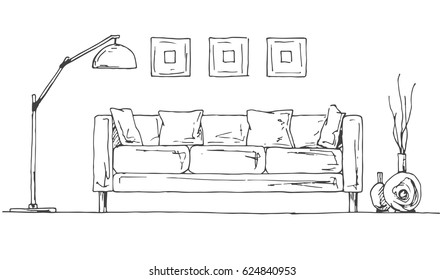 Linear sketch of the interior. Part of the room. Hand drawn vector illustration of a sketch style.