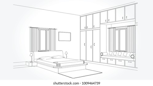 Linear sketch of an interior. Room plan. Sketch Line bedrooms. Vector illustration. outline sketch drawing perspective of a interior space.