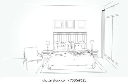 Interior Design Hand Drawing Bedroom Plan Images Stock Photos Vectors Shutterstock