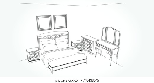 Linear sketch of an interior. Room plan. Sketch Line bedrooms. Vector illustration.outline sketch drawing perspective of a interior space.