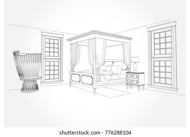 Linear sketch of an interior. Room plan. Sketch Line bedrooms. Vector illustration.outline sketch drawing perspective of a interior space