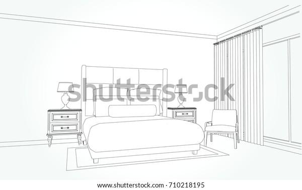 Image vectorielle de stock de Dessin Dun Plan De La Chambre ...