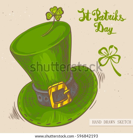 916d98ca Linear sketch of the irish top hat with and text congratulation St.  Patrick's Day. Vector vintage hand drawn illustration on the textured paper  background.