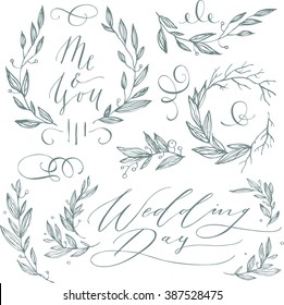 Linear sketch wedding elements for invitation or logo, with leaf and flowers
