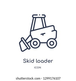 Linear skid loader icon from Industry outline collection. Thin line skid loader icon isolated on white background. skid loader trendy illustration