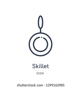Linear skillet icon from Kitchen outline collection. Thin line skillet icon isolated on white background. skillet trendy illustration
