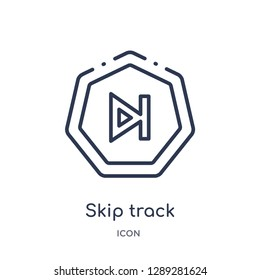 Linear skip track icon from Arrows outline collection. Thin line skip track vector isolated on white background. skip track trendy illustration