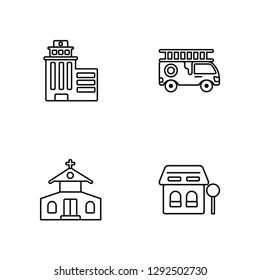 Linear Skyscrapper, Church, Fire truck, Bus stop Vector Illustration Of 4 outline Icons. Editable Pack Of Skyscrapper, Church, Fire truck, Bus stop