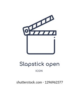 Linear slapstick open icon from Cinema outline collection. Thin line slapstick open icon isolated on white background. slapstick open trendy illustration
