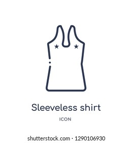 Linear sleeveless shirt icon from Clothes outline collection. Thin line sleeveless shirt vector isolated on white background. sleeveless shirt trendy illustration