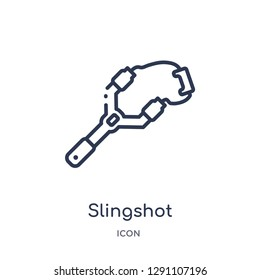 Linear slingshot icon from Camping outline collection. Thin line slingshot vector isolated on white background. slingshot trendy illustration