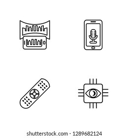 Linear Smartphone, Remote control, Smartphone, Bionic Vector Illustration Of 4 outline Icons. Editable Pack Of Smartphone, Remote control, Smartphone, Bionic