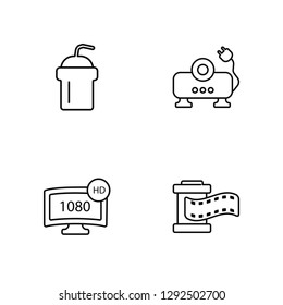 Linear Smoothie with straw, 1080p HD tv, Image projector, Film strip Vector Illustration Of 4 outline Icons. Editable Pack Of Smoothie with straw, 1080p HD tv, Image projector, Film strip