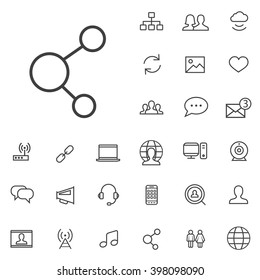 Linear social media icons set. Universal social media icon to use for web and mobile UI. social media basic UI elements set