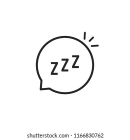 linear speech bubble like zzz logo. concept of funny snoring sign for web and napping icon. flat stroke style trend modern logotype graphic thin line art design isolated on white