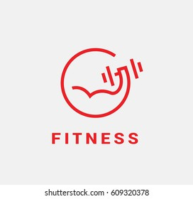 Linear sports vector logo. Arm lifts a dumbbell.