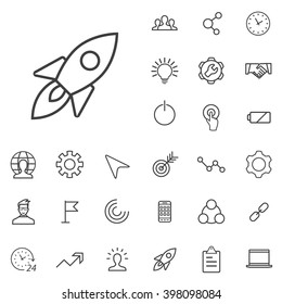 Linear startup icons set. Universal startup icon to use in web and mobile UI. startup basic UI elements set