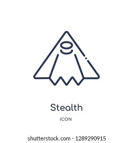 Linear stealth icon from Army and war outline collection. Thin line stealth vector isolated on white background. stealth trendy illustration