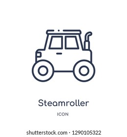 Linear steamroller icon from Construction outline collection. Thin line steamroller vector isolated on white background. steamroller trendy illustration