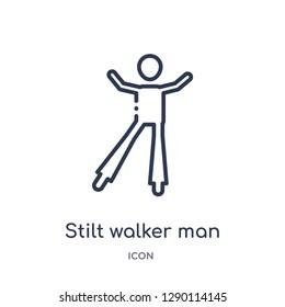 Linear stilt walker man icon from Circus outline collection. Thin line stilt walker man vector isolated on white background. stilt walker man trendy illustration