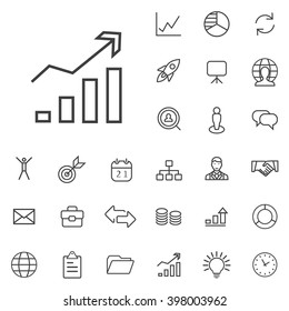 Linear strategy icons set. Universal strategy icon to use in web and mobile UI, strategy basic UI elements set