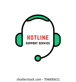 linear style abstract hotline logo isolated on white. concept of 24/7 help communicate for client contact by adviser or counselor with headphone. simple flat unique crm logotype graphic art design