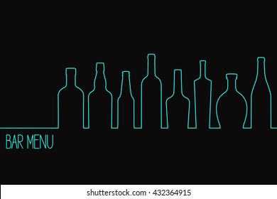 Linear style design for bar drinks menu or cocktail party invitation with various bottles