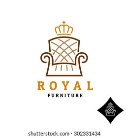 Linear style furniture logo with crown