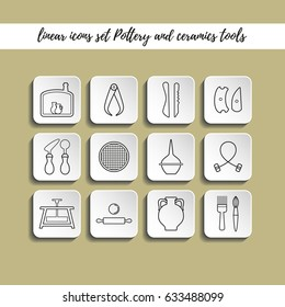Linear style icons set with shadow, ceramics and pottery tools. Symbol and object, vector illustration.