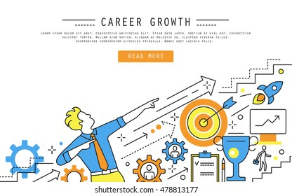 Linear style web banner about career growth, human resource management, candidates hiring, ladder, leadership. Line vector